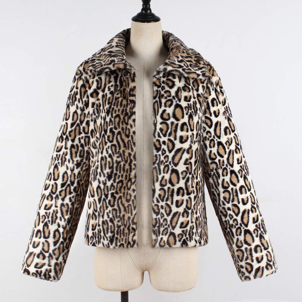 DEELIN Abrigo De Leopardo De Las SeñOras, Moda De Invierno ...