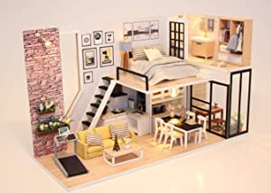 GETIYA Morden Home DIY Miniature Dollhouse with Tiny Furniture Creative DIY Miniatures House for Adults Model Kits DIY Dollhouse Decompression Toys Womens Girls Toy Wooden Dollhouse with Dust Cover