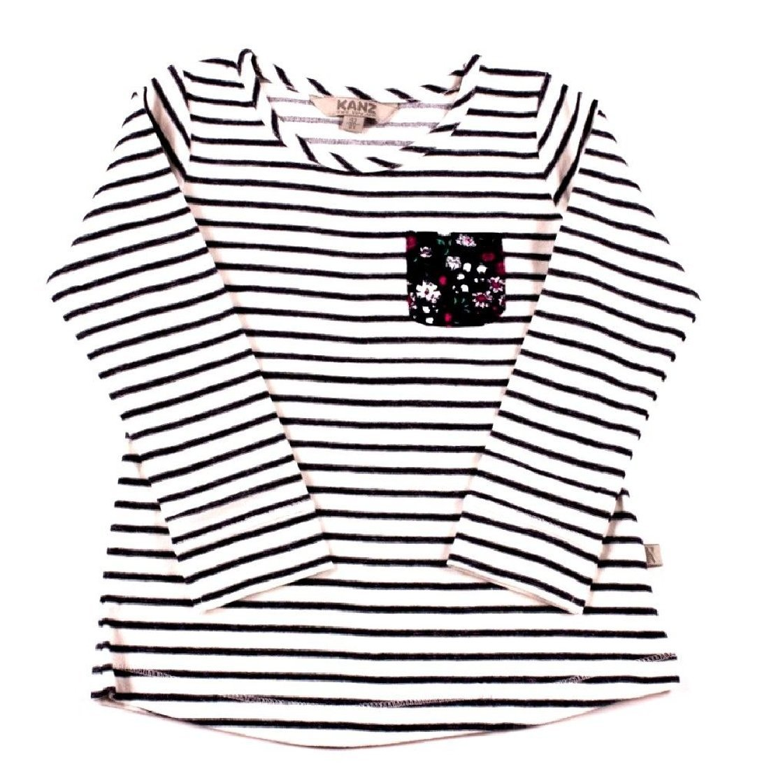 Girls Striped White Shirt with Floral Pocket by Kanz Size 4 Years
