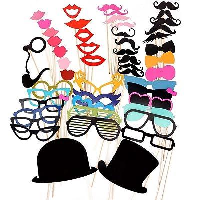 PIXNOR 51Pcs bricolaje gafas graciosas bigote labios rojos pajaritas sombreros fumando pipas en palitos boda cumpleaños fiesta Photo Booth Props: Bricolaje y herramientas
