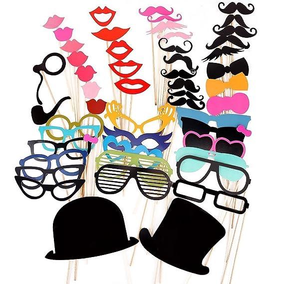 PIXNOR 51Pcs bricolaje gafas graciosas bigote labios rojos pajaritas sombreros fumando pipas en palitos boda cumpleaños fiesta Photo Booth Props: Amazon.es: ...