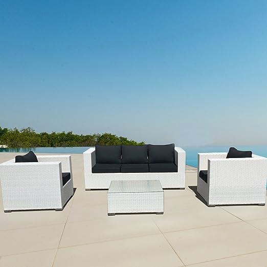 LuxuryGarden Salón de ratán blanco de jardín, muebles exterior ...