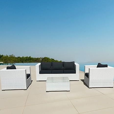LuxuryGarden Salón de ratán blanco de jardín, muebles ...