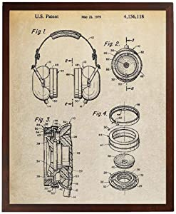 Turnip Designs Headphone Patent Artwork Audio Headset Blueprint Headphones Poster Home Theater Decor Music Wall Art TDP1084