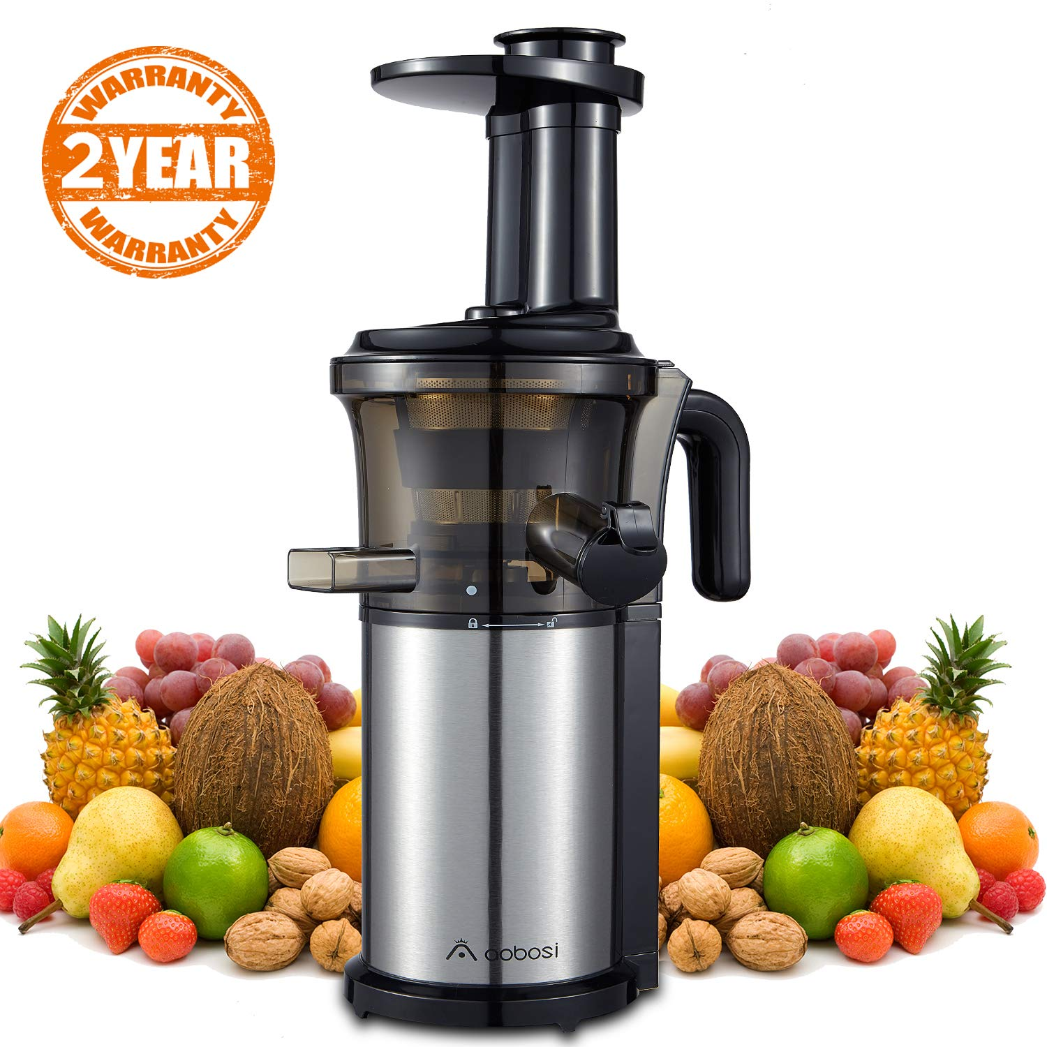 Aobosi Slow Masticating Juicer Extractor Compact Cold Press Juicer Machine with Portable Handle/Quiet Motor/Reverse Function/Juice Jug and Clean Brush for High Nutrient Fruit & Vegetable Juice SIBAKE U-SP-SJE-006