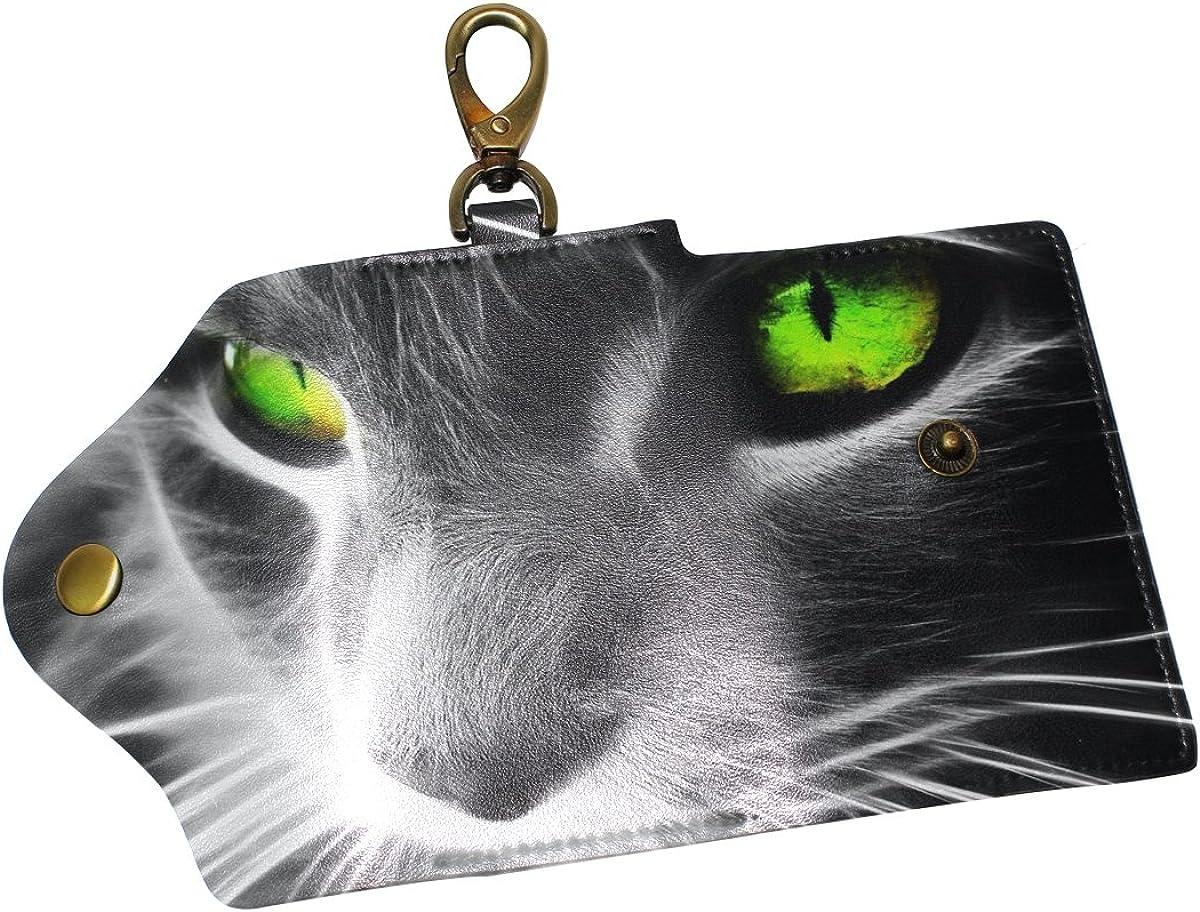 DEYYA Black Cat Leather Key Case Wallets Unisex Keychain Key Holder with 6 Hooks Snap Closure