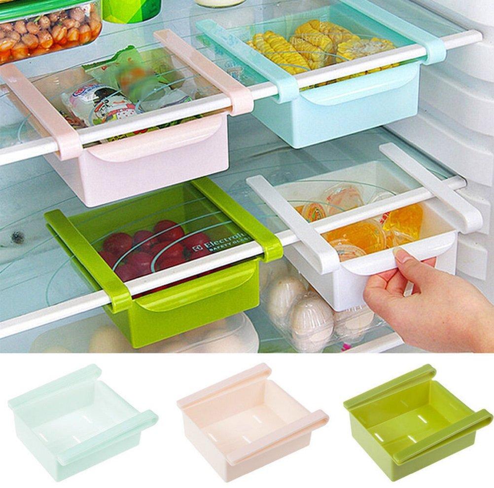 ILOVEDIY Multipurpose Sliding Drawer Space Saver for Refrigerator Freezer Fridge Organisation Shelf onesize white