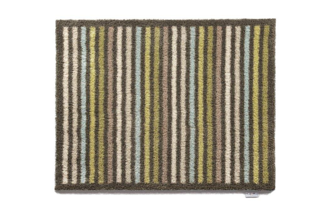 Brown and Green Stripe Bosmere Hug Rug Eco-Friendly Absorbent Dirt Trapping Indoor Washable Mat, 25.5  x 33.5 , Topiary Trees