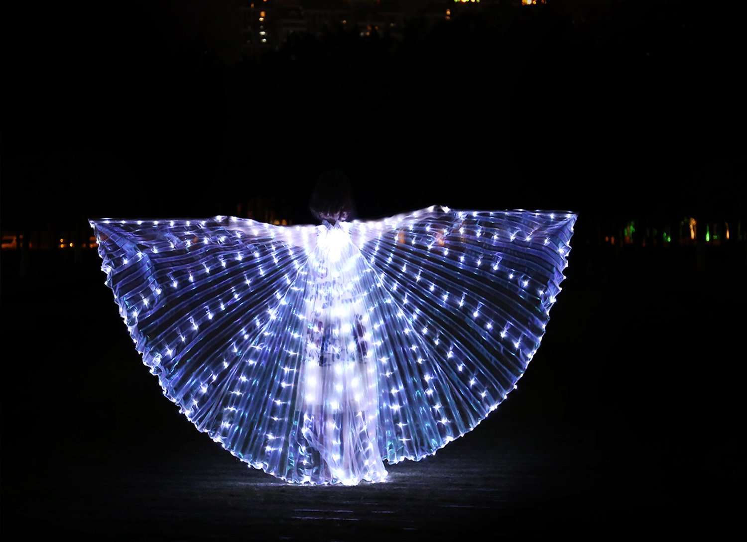 Dance Fairy Belly Dance LED Isis Wings with Stick(White) by Dance Fairy (Image #4)