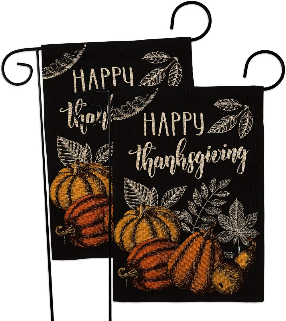 Suzani Thanksgiving Burlap Garden Flag - 2pcs Pack Fall Turkey Give Thanks Gobble Pumpkin Season Autumntime Cornucopia - House Decoration Banner Small Yard Gift Double-Sided Made In USA 13 X 18.5