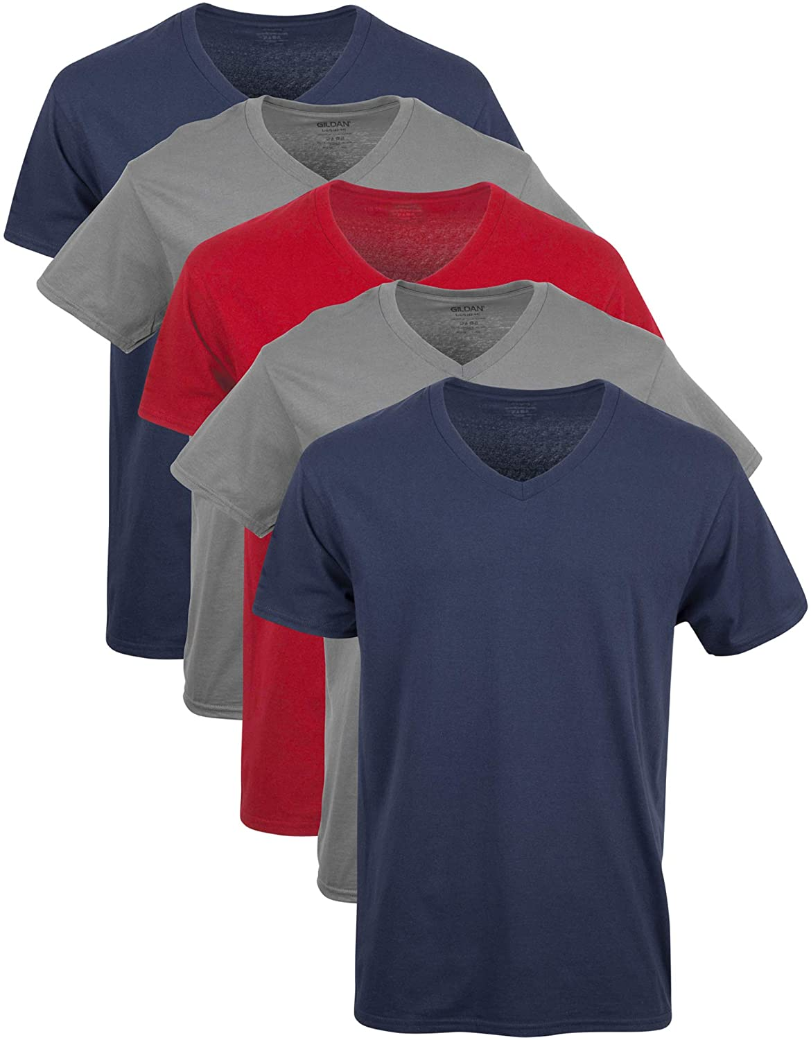 Gildan Men's V-Neck T-Shirts Multipack at  Men's Clothing store