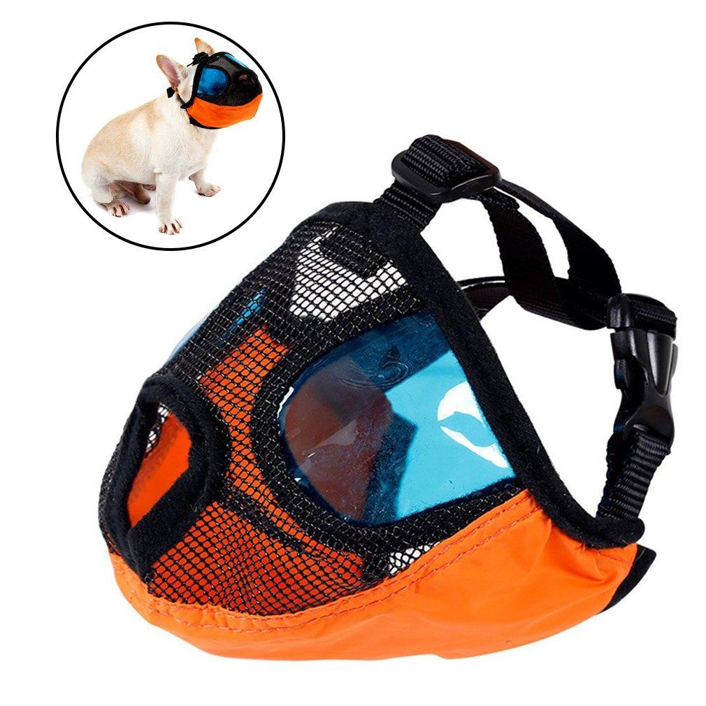 Dog Muzzles for Biting Barking,Adjustable Short Snout Dog Anti Bite Puppy Mesh Muzzle With Eyeglasses Masks For Pitbulls,Pekingese,Tibetan spaniels,Boston Terrier,American English Bulldogs (Small)