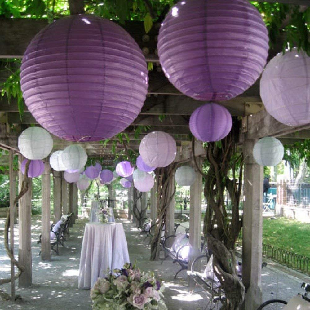 BangShou 24pcs Purple Paper Lantern Set, Reusable & Decorative, Wedding Party Birthday Festival Decoration (24pcs Purple+White)