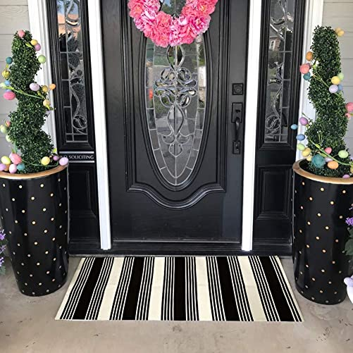 USTIDE Cotton Striped Area Rug Stripe Indoor Outdoor Rug 23.6X51 Black White Layering Doormat Farmhouse Style