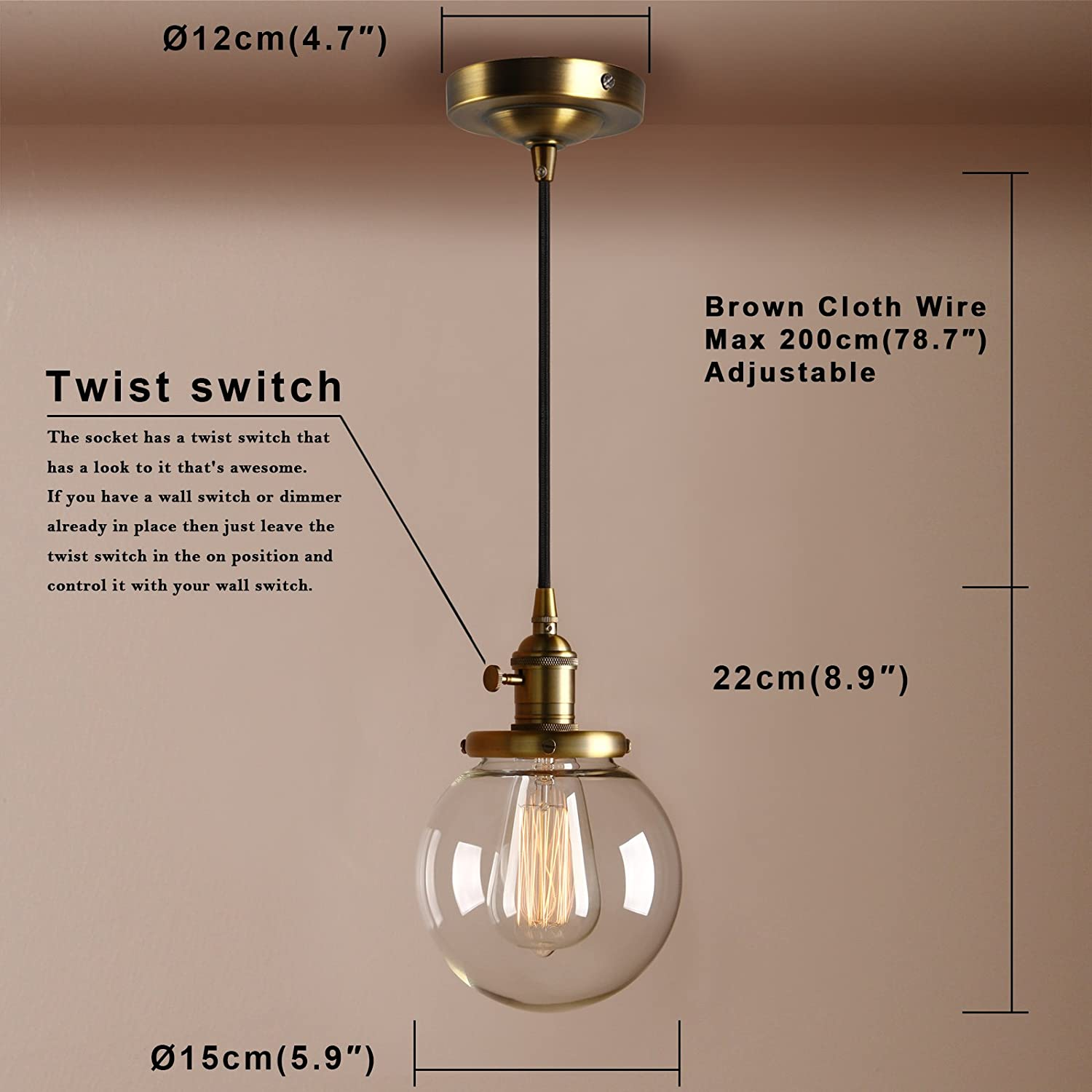 Pathson 15cm Vintage Modern Pendant Light Fittings Industrial Edison Wire That Is In The Ceiling From Switch Now To Rose Hanging Fixture Loft Bar Kitchen Island Chandelier E27 With Clear
