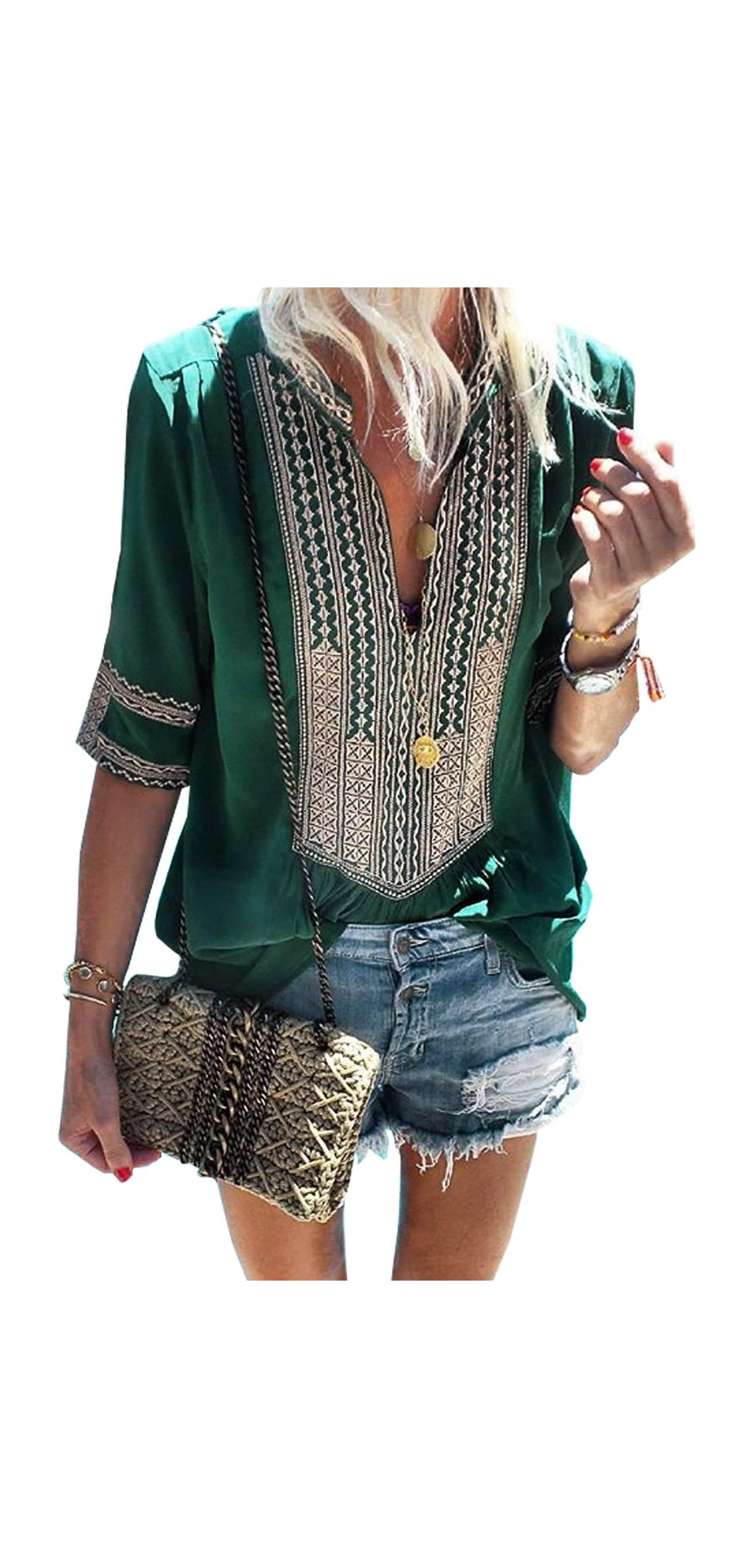 Womens Summer Casual Embroidery Front V Neck Blouse Club