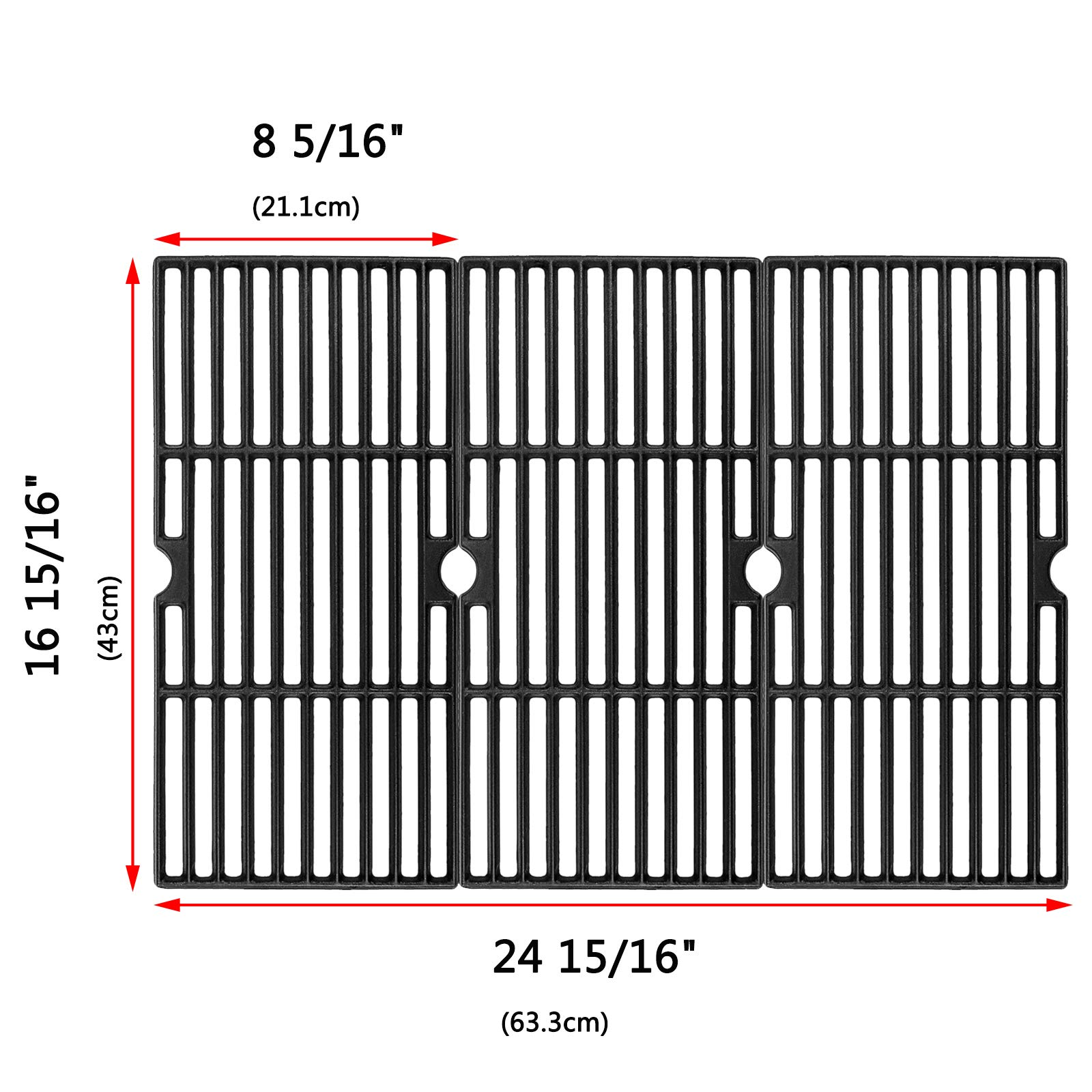 Uniflasy Cast Iron Cooking Grid Grates for Charbroil Advantage 463343015, 463344015, 463344116, Kenmore, Broil King and Others Gas Grill Models, G467-0002-W1, 16 15/16 Inches, Set of 3 by Uniflasy
