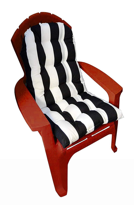 Resort Spa Home Decor Outdoor Tufted Adirondack Chair Cushion – Black White Stripe