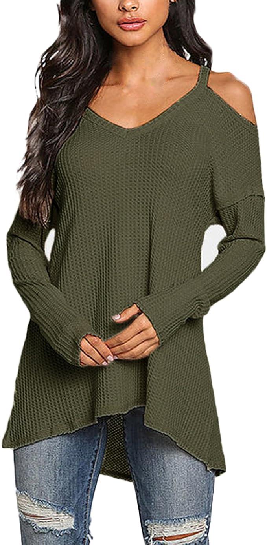 TALLA L. ACHIOOWA Mujer Camiseta Elegante Casual Hombros Descubiertos Blusa Mangas Largas Cuello V Jersey Punto Suelto Top