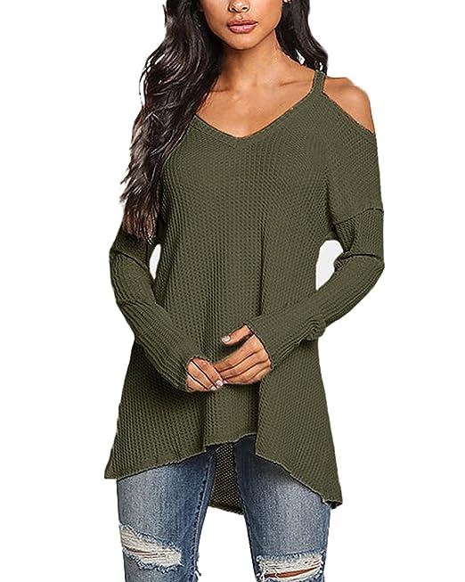 ACHIOOWA Mujer Camiseta Manga Larga Cuello V Oto?o Blusa Sin Hombros Punto Jersey Elegante