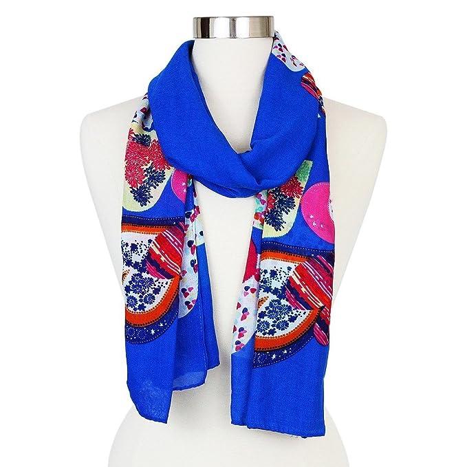 Charlotte Daniel Womens Sylvia Alexander Heart Print Oblong Scarf Sarong Shawl (Blue Multicolored)