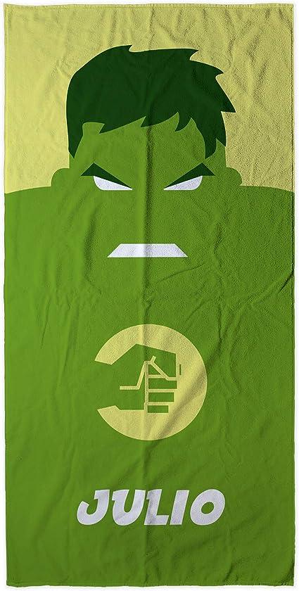 Vari Disegni e Dimensioni tra Cui Scegliere Hulk LolaPix Asciugamano da Spiaggia Supereroi Personalizzato con Nome Regalo Geek