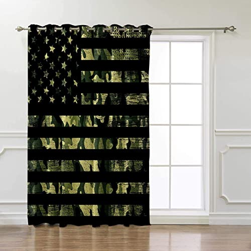 Rustic Green Camo Military Pattern American Flag Thermal Insulated Blackout Window Curtains Window Treatments 1 Panel Doors Curtains and Drapes