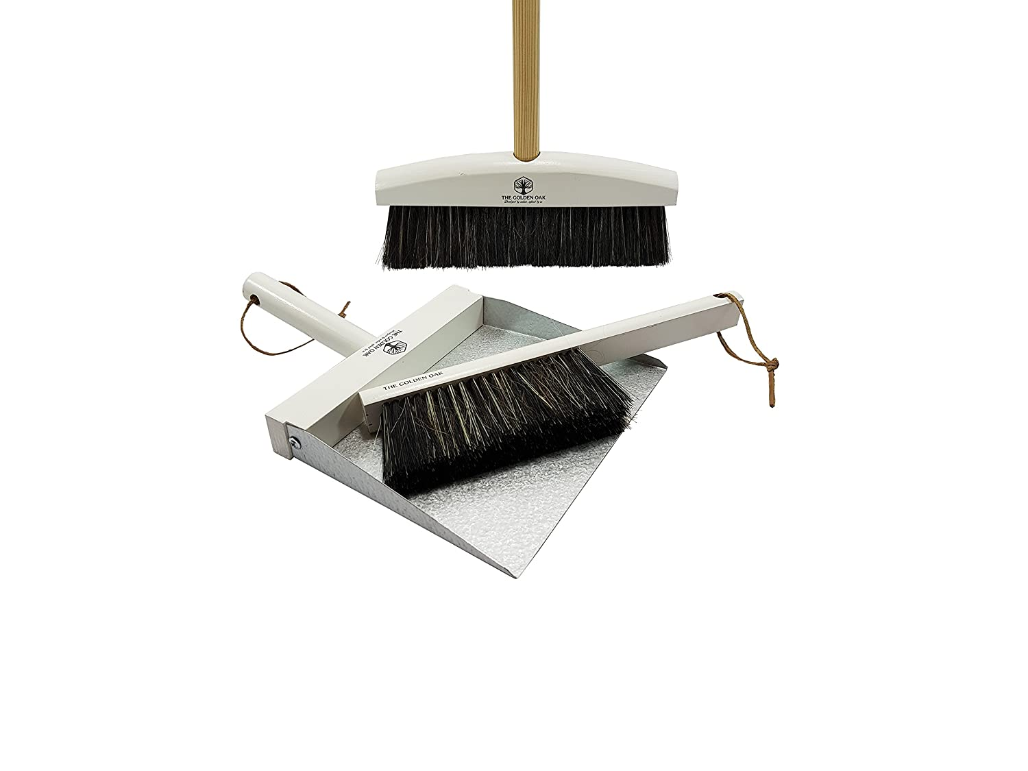 The Golden Oak Grey Cleaning set - dustpan, brush and broom set