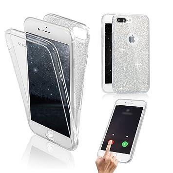 Funda Delantera y Trasera para iPhone 8 Plus / 7 Plus, Vandot Brillante Brillo Purpurina llamativa Carcasa 360 Grados Full Body Cuerpo Completo ...