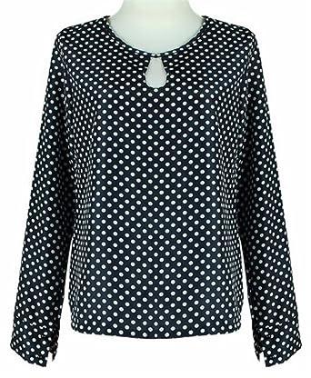 YOGLY Femme Chemisier Noir à pois blanc Manches Longues Slim Shirt Blouse  Slim Chic Tops  Amazon.fr  Vêtements et accessoires 5ec4f9db7675