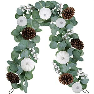 White Pumpkin Garland Artificial Eucalyptus Garland with White Pumpkins Pinecones Berries Fall Foliage Garland for Wedding Arch Backdrop Thanksgiving Table Runner Farmhouse Décor 6' Long