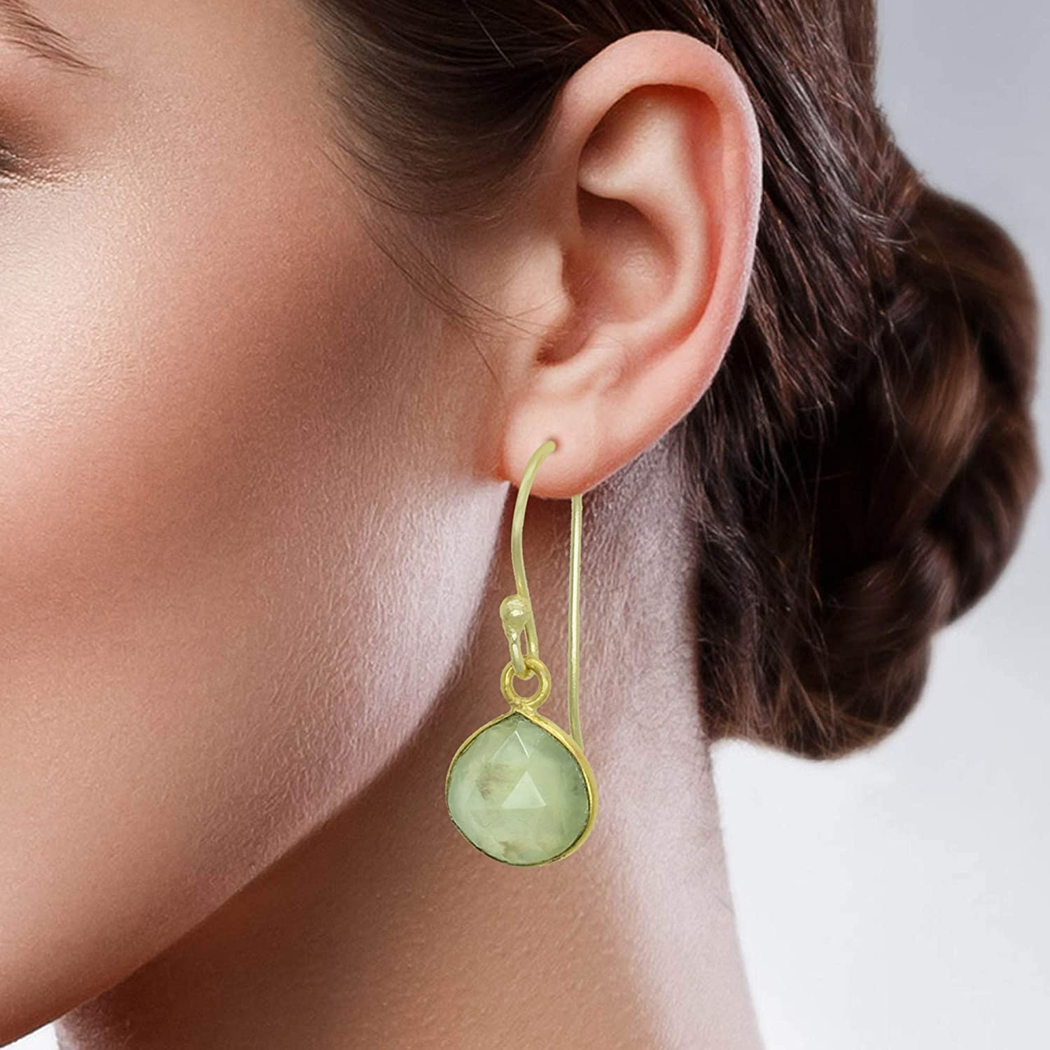 The V Collection earrings yellow gold plated tabiz prehnite dangling earrings for women and girls
