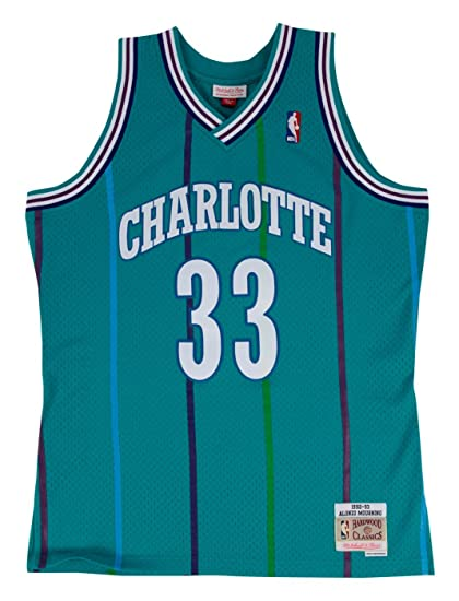 7118fd849f1 Mitchell   Ness Alonzo Mourning Charlotte Hornets Swingman Jersey Teal  (Small)
