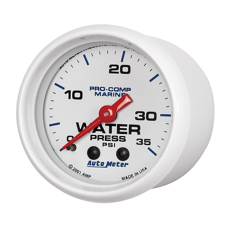 Marine White Mechanical Water Press Auto Meter AutoMeter 200772 Gauge 35Psi 2 1//16