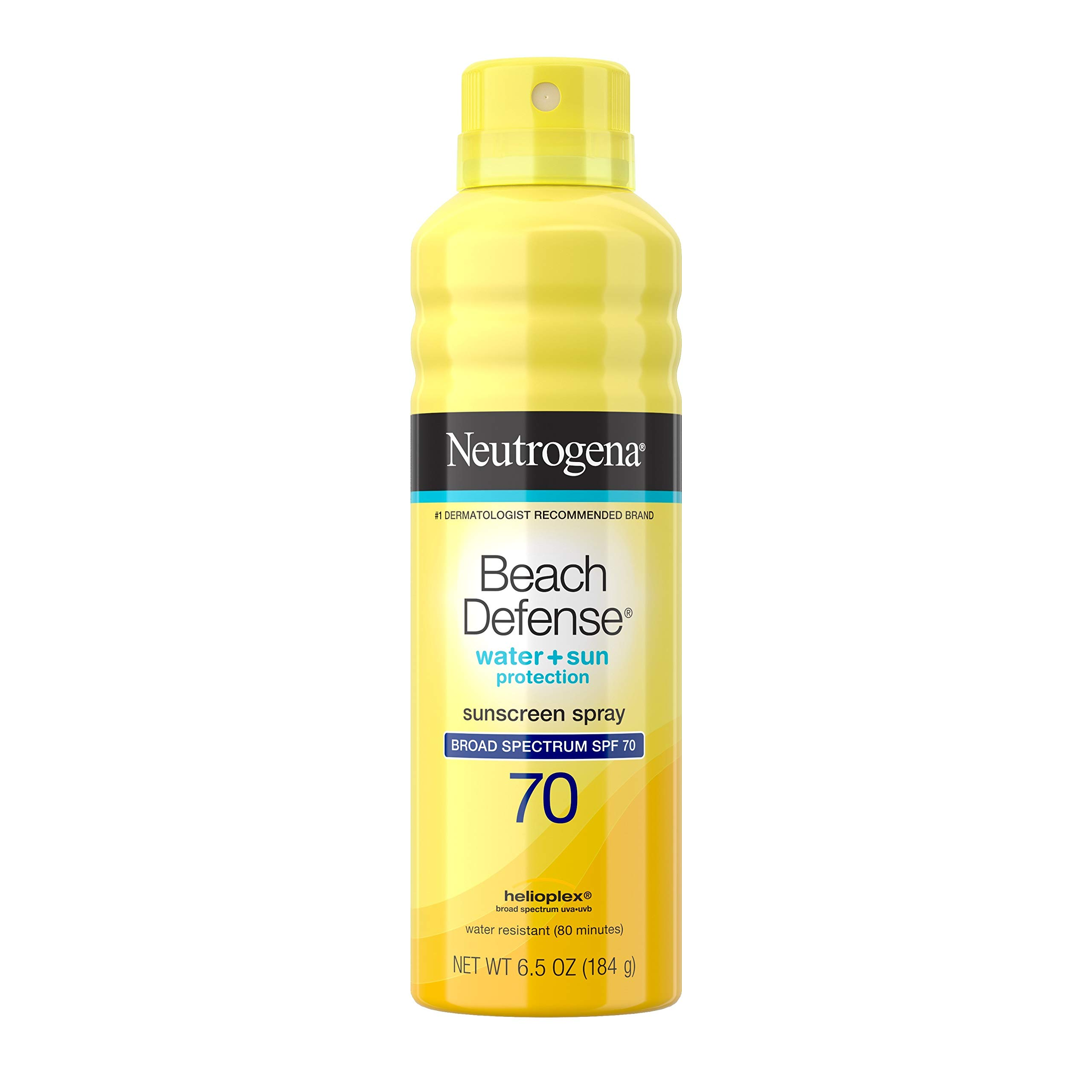 Neutrogena Beach Defense Spray Sunscreen with Broad Spectrum SPF 70, Fast Absorbing Sunscreen Body Spray Mist, Water-Resistant & Oil-Free UVA/UVB Sun Protection, 6.5 oz