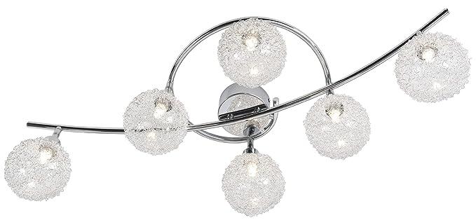 Nino Leuchten 63369606 - Lámpara de techo con bombillas halógenas, de cromo y cristal, 6 bombillas, largo de 80 cm