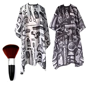2 Pcs Salon Barber Capes, Professional Hair Cutting Cape with Snap Closure, Waterproof Hairdressing Nylon Barbers Gown with Neck Duster Hair Sweep Brush for the Home Salon and Barber Shop(57