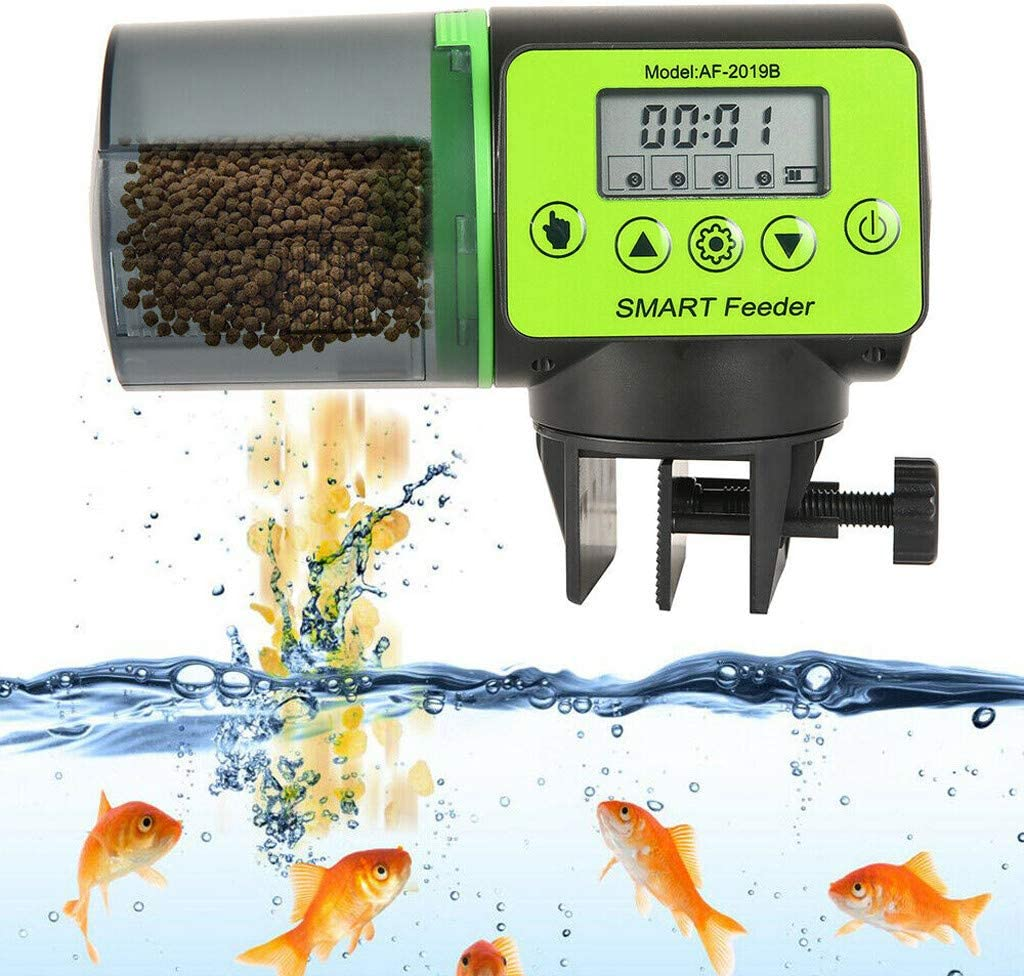 Automatic Pond Koi Fish Food Feeder Holiday Timer Auto Dispense Feed Digital Timer