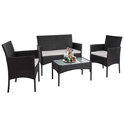 Magnificent Walsunny 4 Pieces Outdoor Patio Furniture Sets Rattan Chair Wicker Set Outdoor Indoor Use Backyard Porch Garden Poolside Balcony Furniture Medium Home Interior And Landscaping Ponolsignezvosmurscom