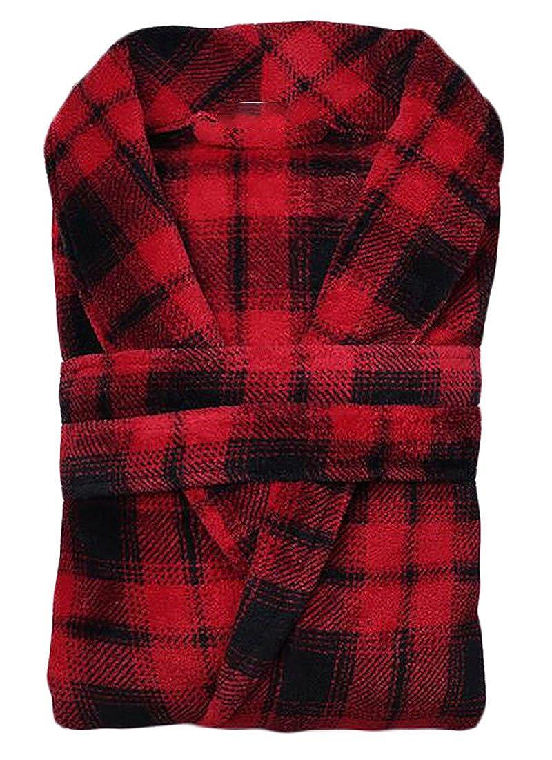 Fulok Mens Comfort Fleece Bathing Plaid Sleepwear Belt Bathrobe Robe