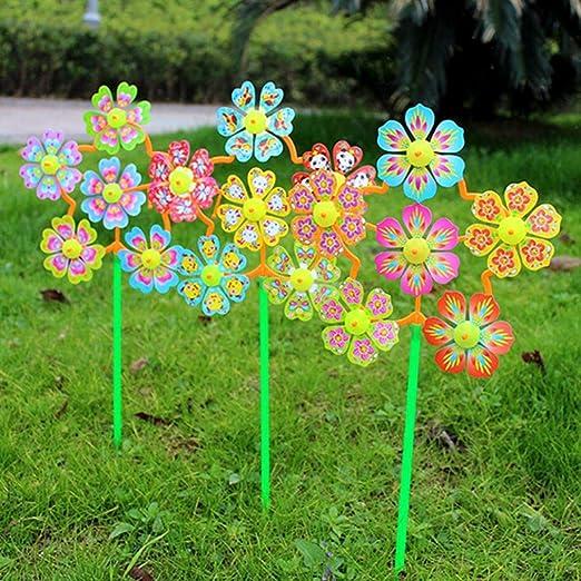 LC-Tools 2 molinillos de Viento con Forma de Flor, para decoración del hogar, jardín, Patio, Juguetes para niños: Amazon.es: Jardín