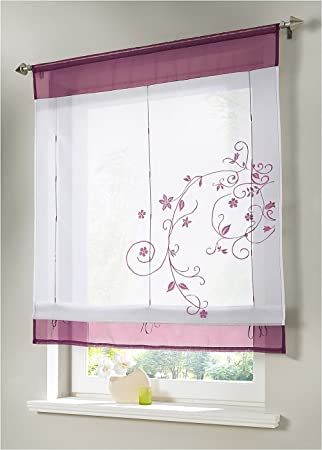 WPKIRA Home Fashion Sheer Liftable Organza Embroidered Kitchen Curtains  Roman Window Curtain Shades Vertical Curtain Ribbon