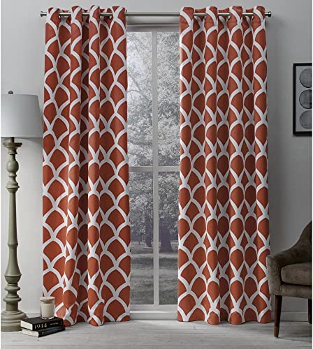 Exclusive Home Curtains Durango Geometric Printed Woven Sateen Window Curtain Panel Pair with Grommet Top, 52×96, Mecca Orange, 2 Piece