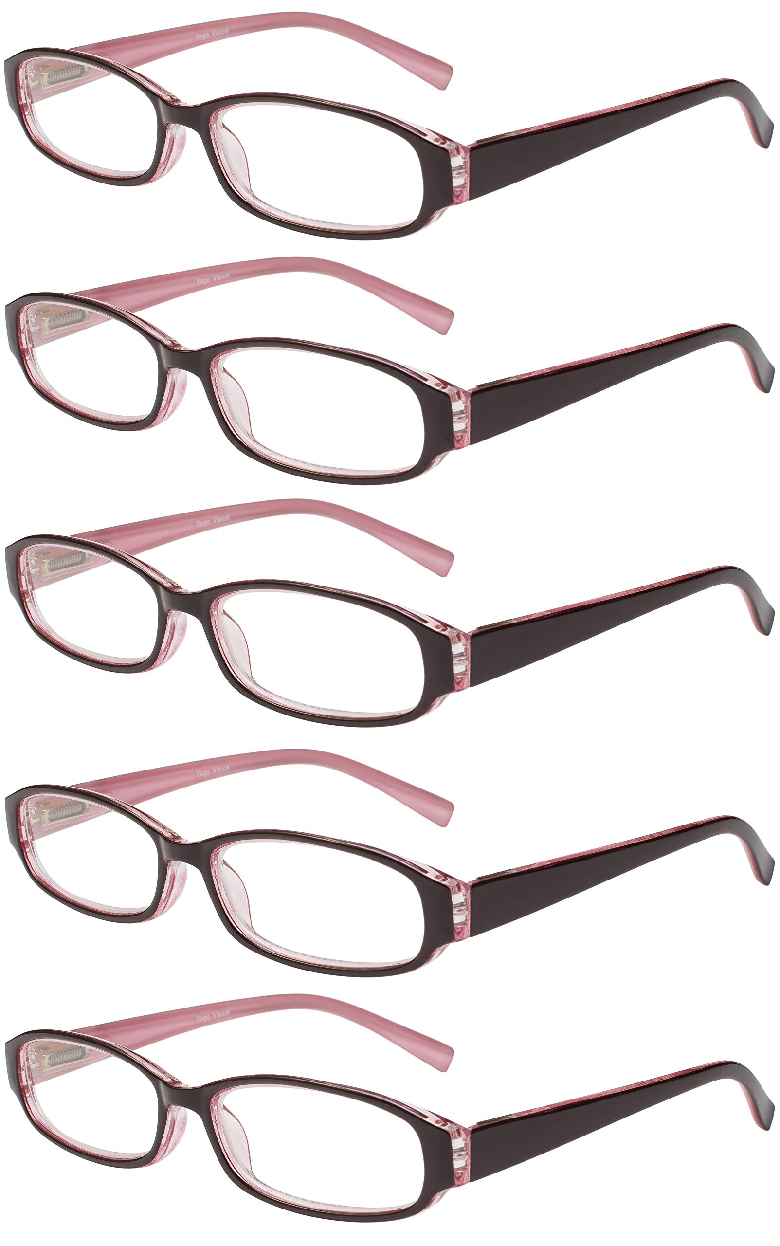 Reading Glasses 5 Pair Spring Hinge Fashion Quality Readers for Men and Women +1.25 by Success Eyewear