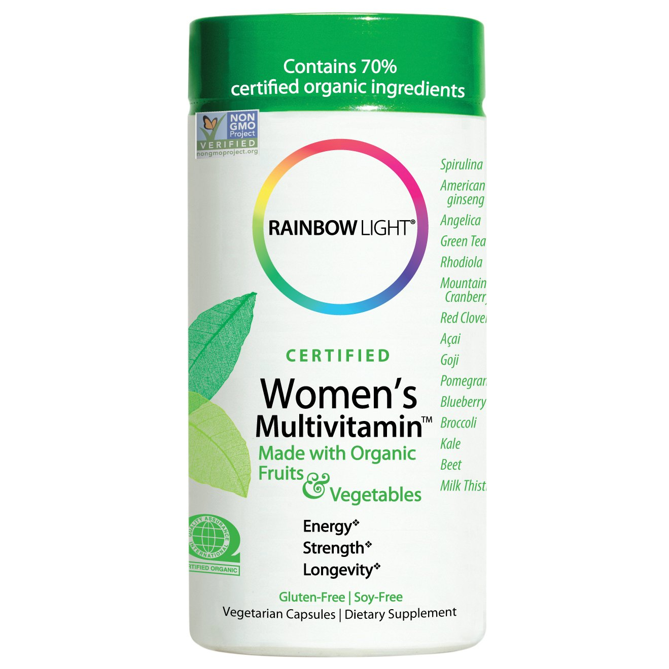 Rainbow Light Women's Multivitamin, Organic Fruits & Vegetables, Gluten-Free, Soy-Free, 120 Vegetarian Capsules