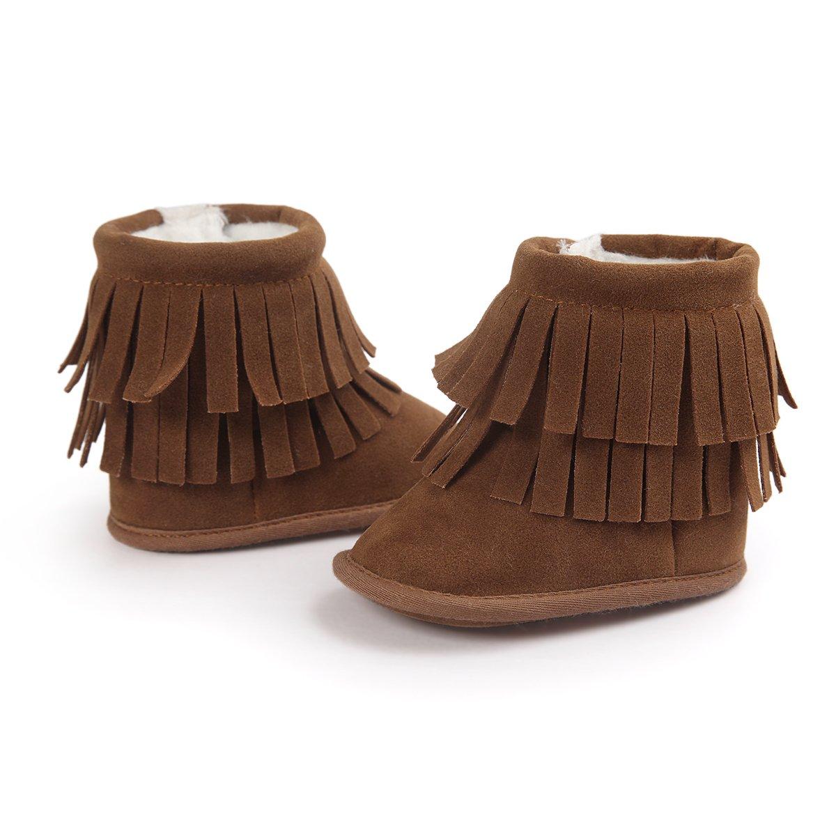 Kuner Infant Baby Boys Girls Tassel Plush Non-slip Prewalker Toddler Outdoor Warm Snow Boots (12cm(6-12months), Brown)
