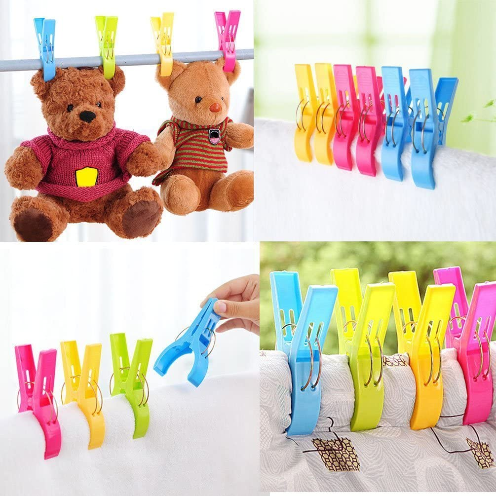 Vicloon Beach Towels Pegs Clips Quilt Clips 16 PCS Large Size Bright Color Plastic Towel Holder for Sun Beds or Laundry