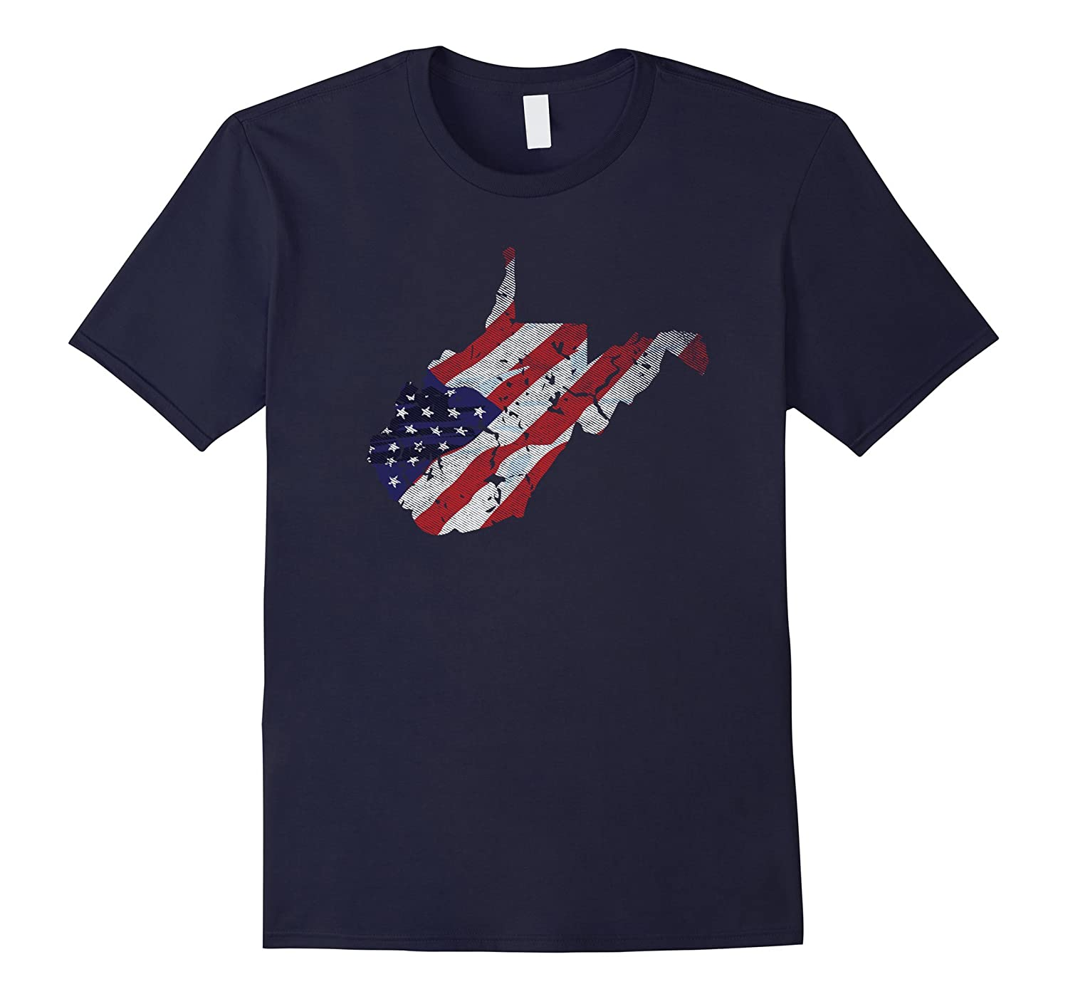 West Virginia American Flag Distressed T-Shirt-TH