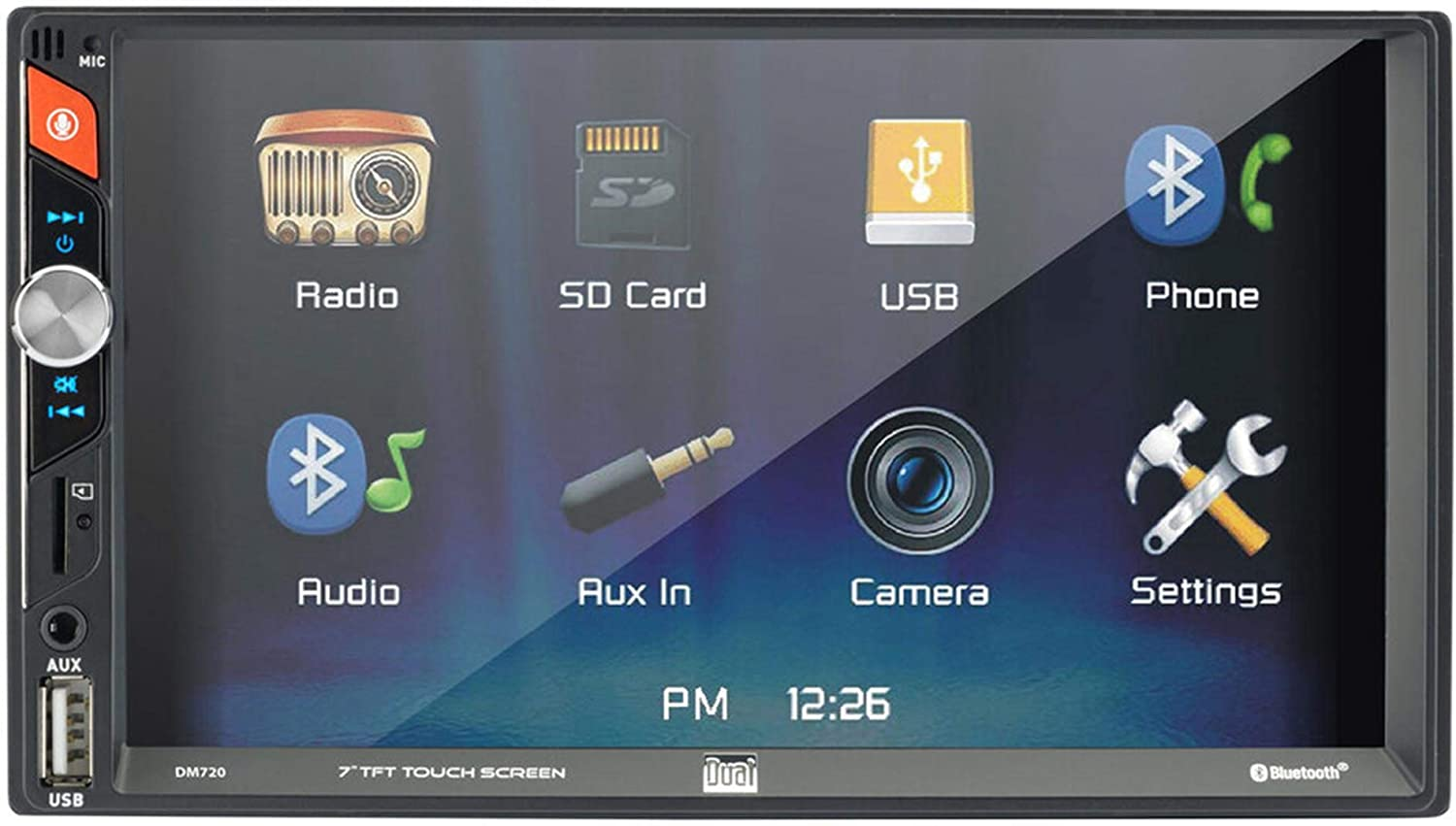 Dual DM720 7-Inch Double-DIN in-Dash Mechless Receiver with Bluetooth