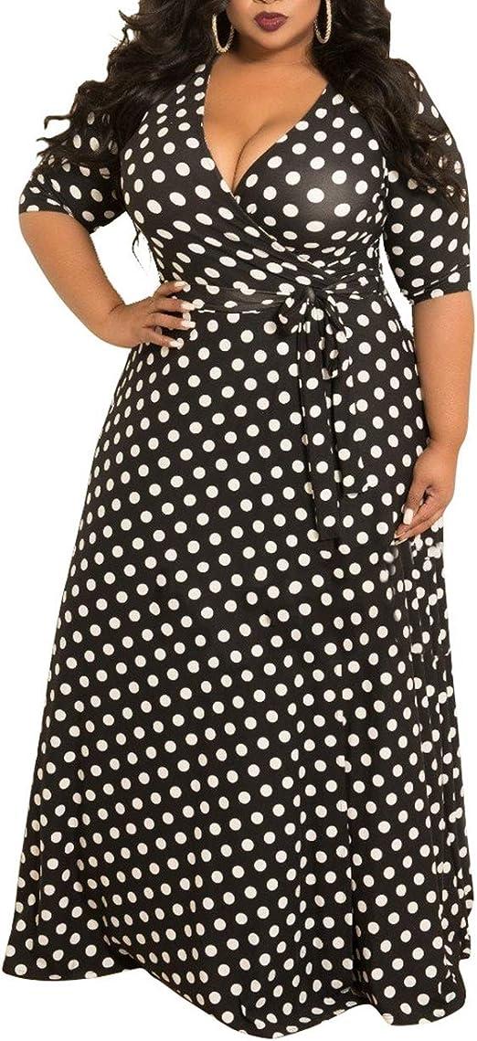 VERWIN Plus Size Dress for Women Loose Polka Dot Women\'s Dress V Neck  Vintage Maxi Dress